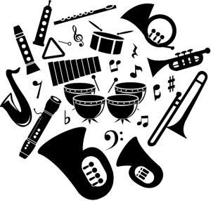 楽器たちのシルエット